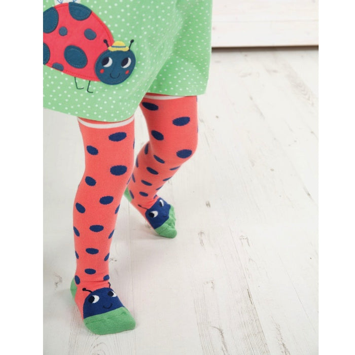 FRUGI - Collants Little Twinkle coton bio - Coral Spot Ladybird