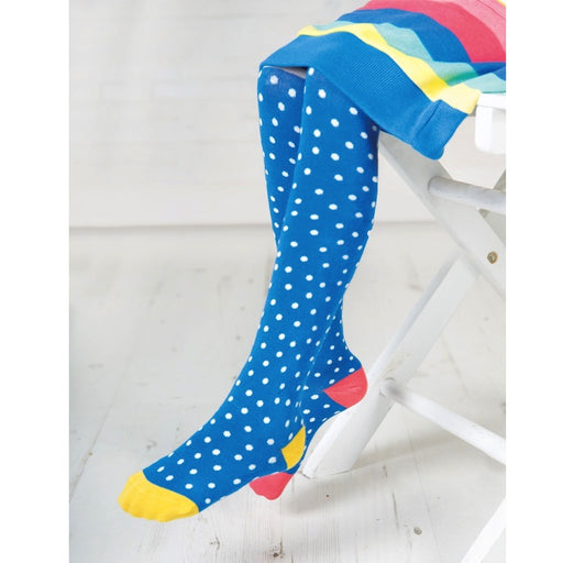 FRUGI - Collants Norah coton bio - Sail Blue Polka Dot