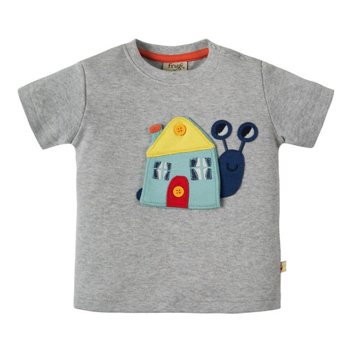 FRUGI - T-shirt manches courtes Button Off bio - Grey Marl Snail