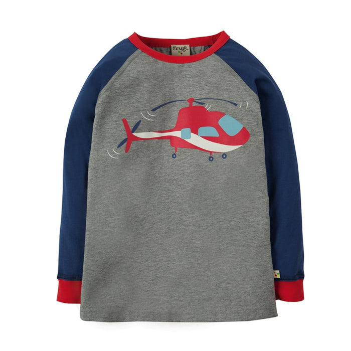 FRUGI - T-shirt manches longues coton bio Harry - Grey Marl Helicoptor