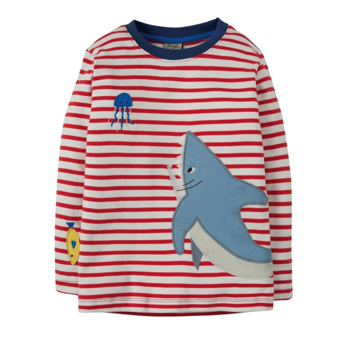 FRUGI - T-shirt manches longues Joe coton bio - Tomato Breton Shark