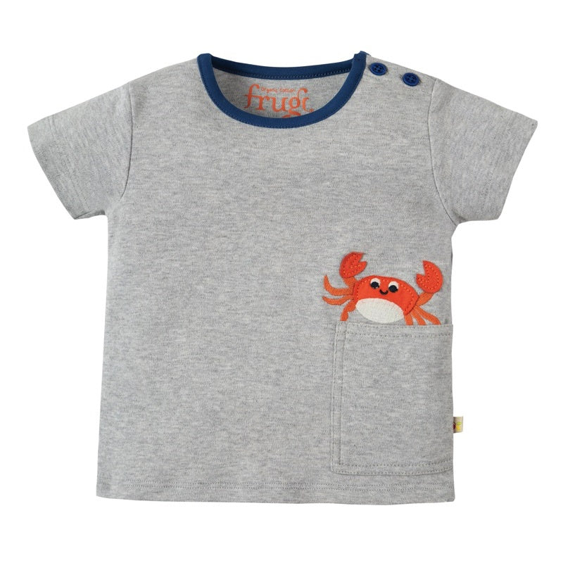 FRUGI - T-shirt Padstow Pocket coton bio - Grey Marl Crab