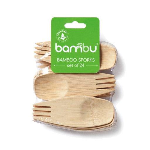 BAMBU - Lot de 24 mini fourchettes en bambou bio