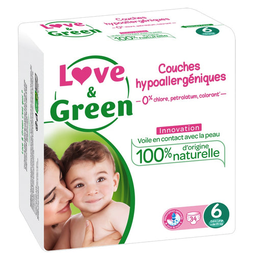 Love and Green - Couches jetables hypoaalergéniques anti-irritation - T6 Extra Large - + de 15 kg