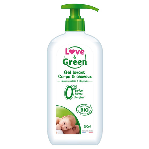 Love and Green - Gel corps et cheveux hypoallergénique bio 500 ml