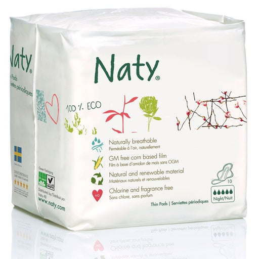 Naty - Serviettes hygiéniques bio - Extra Night plus