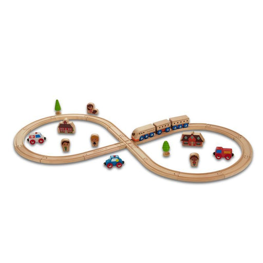 EVEREARTH - Set de train en bois - circuit forme 8