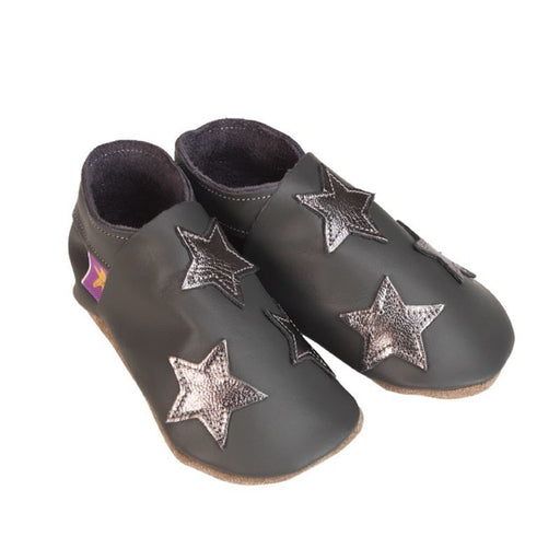 STARCHILD - Chaussons cuir souple - Stars Grey Metal