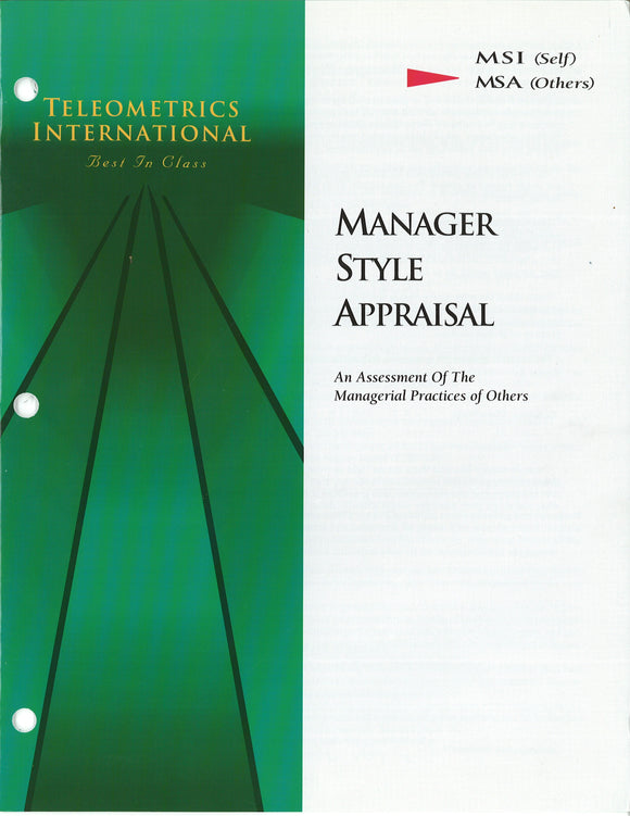 Co-Worker Feedback>> Manager Style Appraisal (MSA)