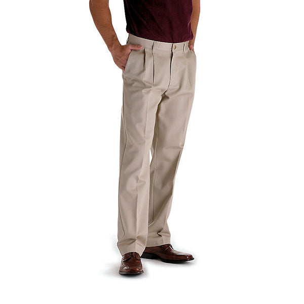 Lee Men's Big/Tall Stain Resistant Pleated -Khaki-