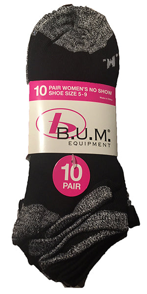 BUM Equipment Women's No-Show Socks -10Pk-