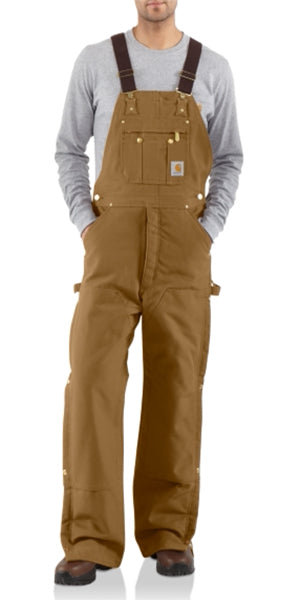 Carhartt Men's Duck Zip-to-Thigh Quilt Lined Bib