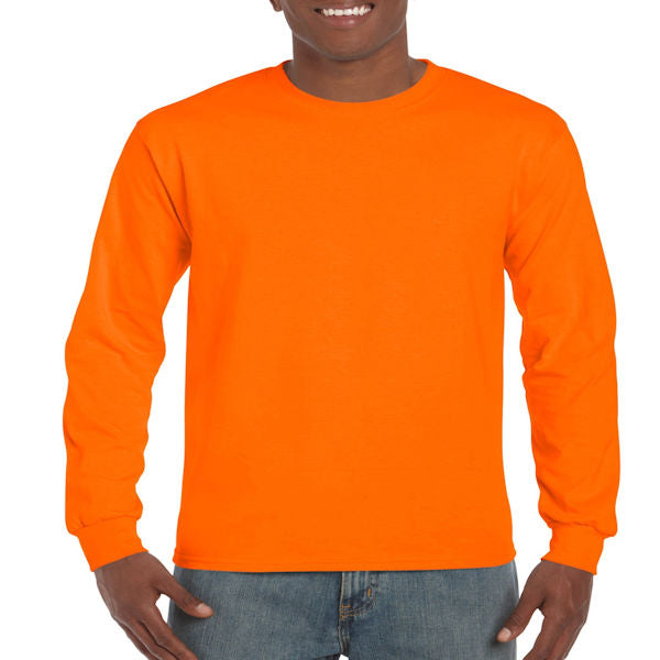 Gildan Men's Ultra Cotton Long Sleeve Tee -Orange-
