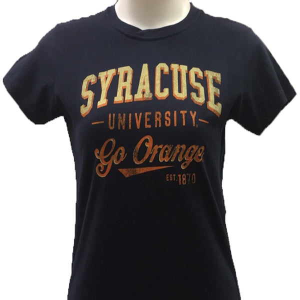 Syracuse Orange Women`s Vintage Arch T-Shirt -Navy