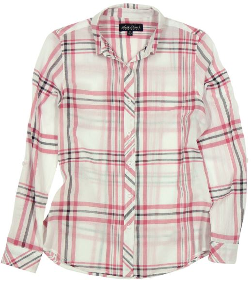 North River Women's Crinkle Woven Flannel -Rose-