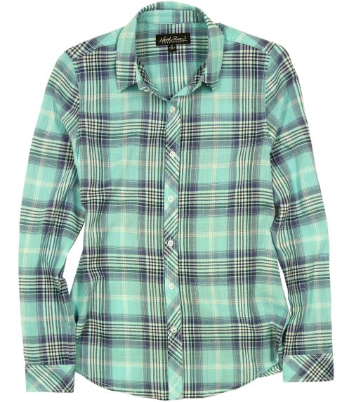 North River Women's Crinkle Woven Flannel -Aqua-