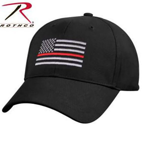 Rothco Men's Thin Red Line Low Profile Cap -Black-