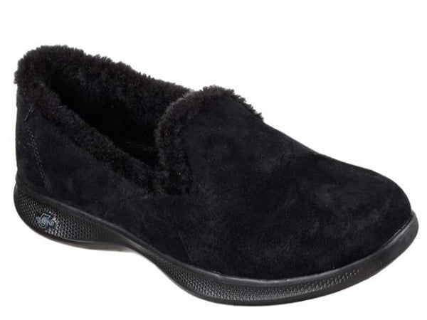 Skechers Women's Go Step Black Fuzzies -Black-