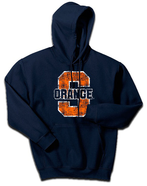 Syrcause Men`s Pullover Hoodie S Orange Thru -Navy