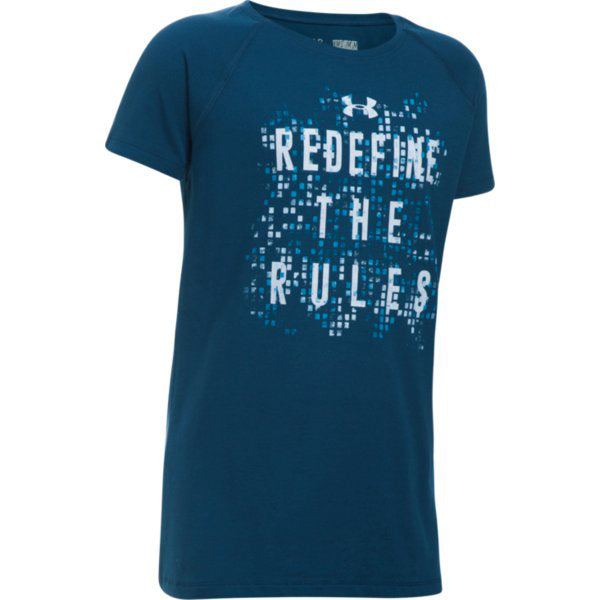 Under Armour Girl's Redefine The Rules Tee -Navy-