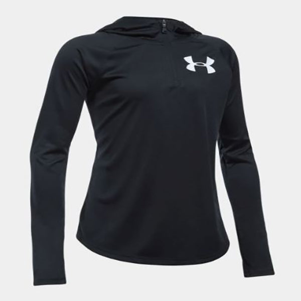 Under Armour Girl's Tech 1/4-Zip Hoodie -Black-
