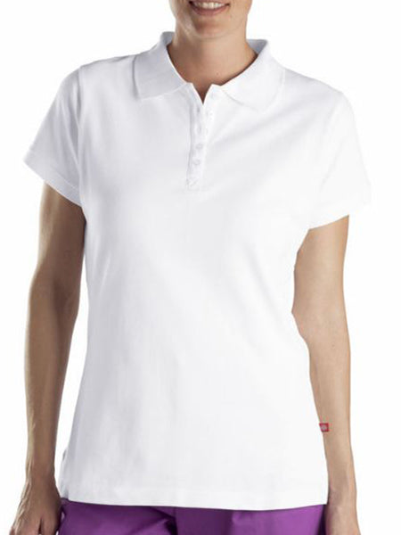 Dickies Women's Solid Pique Polo Shirt -White-