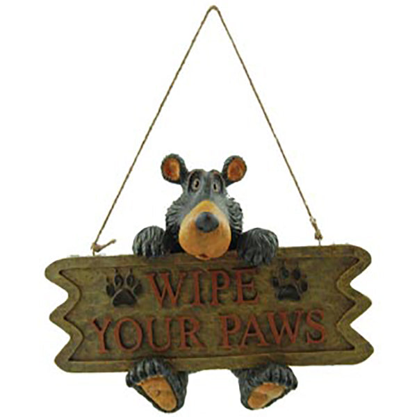 Wilcor Willie Bear Wipe Paws Sign
