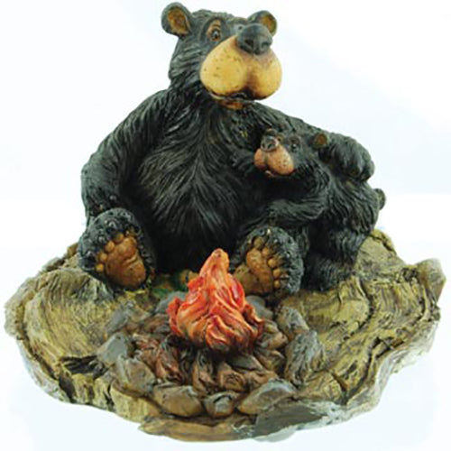 Wilcor Willie Bear With Cub By Fire Figurine