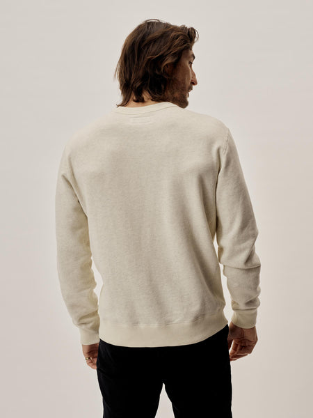Oat Heathered Twill Terry Vintage Crew