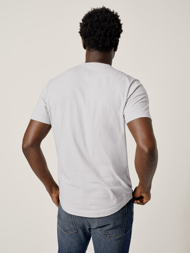 Buck Mason - Army Grey Slub Curved Hem Tee