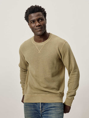 Barley Sunfade Heathered Twill Terry Vintage Crew