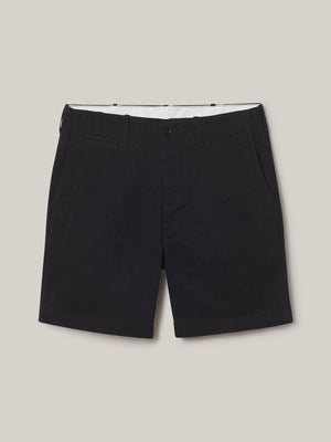 black Slub Twill Officer Short