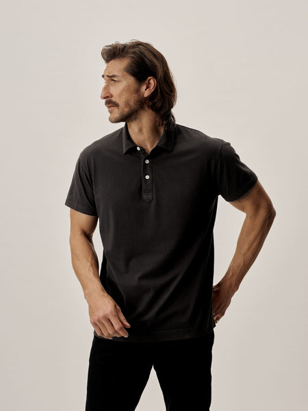 Black Sueded Cotton Polo