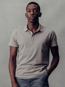Cloud Grey Venice Wash Sueded Cotton Polo