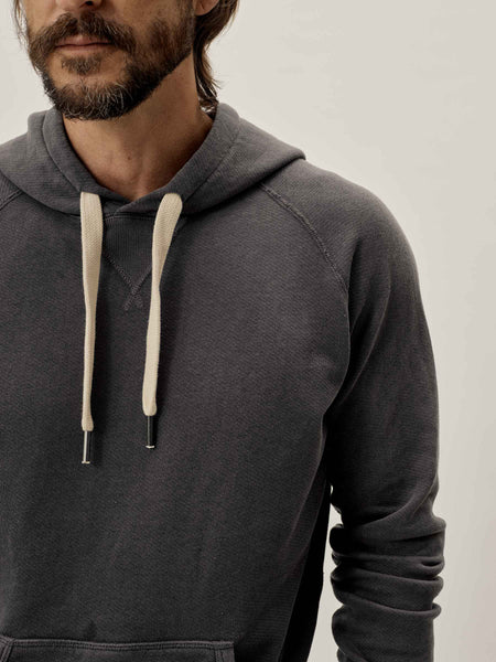 Carbon Sunfade Heathered Twill Terry Vintage Hooded Raglan