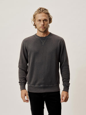 Carbon Sunfade Heathered Twill Terry Vintage Crew
