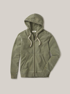 Deep Olive Venice Wash Brushed Loopback Full Zip