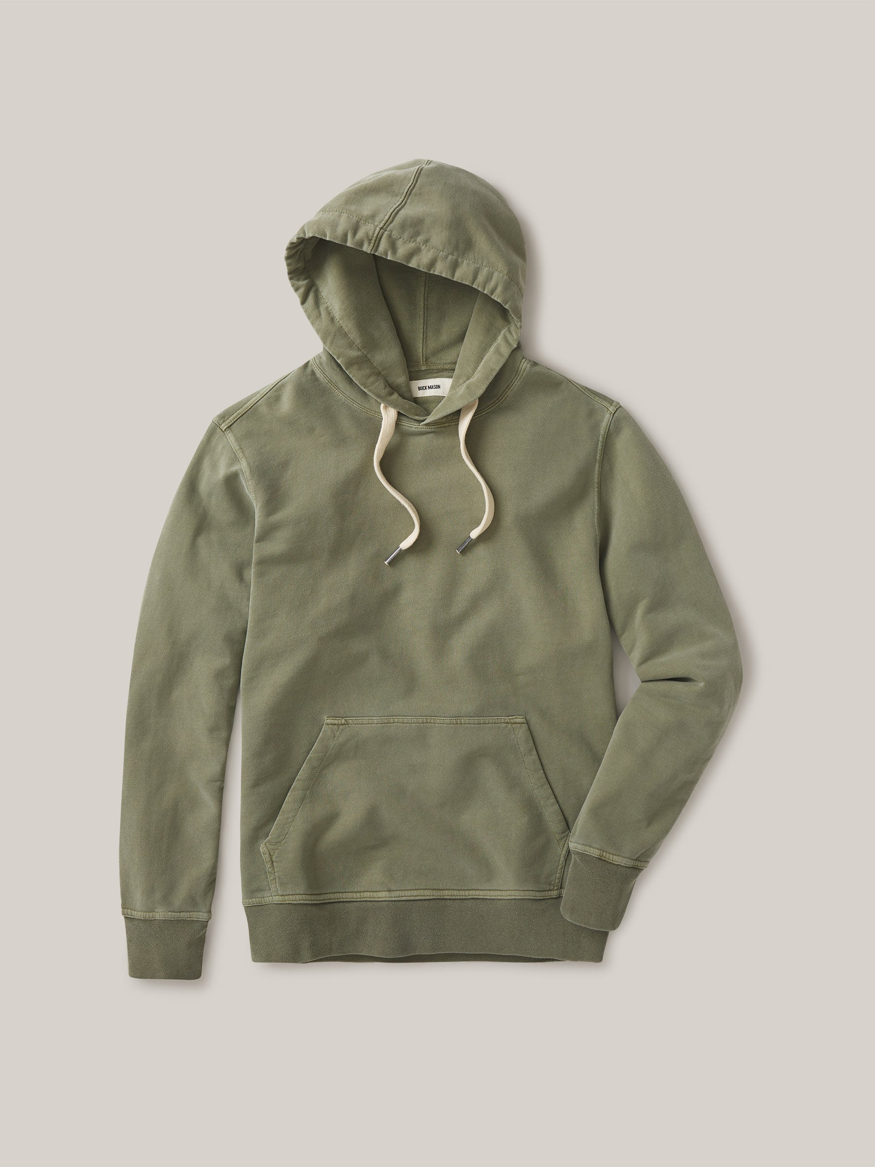 Buck Mason - Deep Olive Venice Wash Brushed Loopback Hooded Sweatshirt