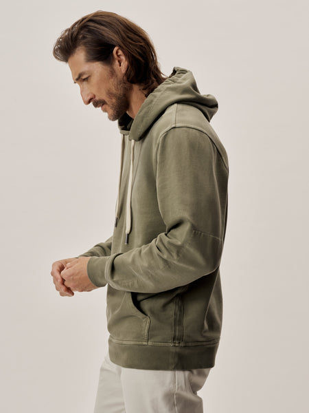 Deep Olive Venice Wash Brushed Loopback Hooded Sweatshirt