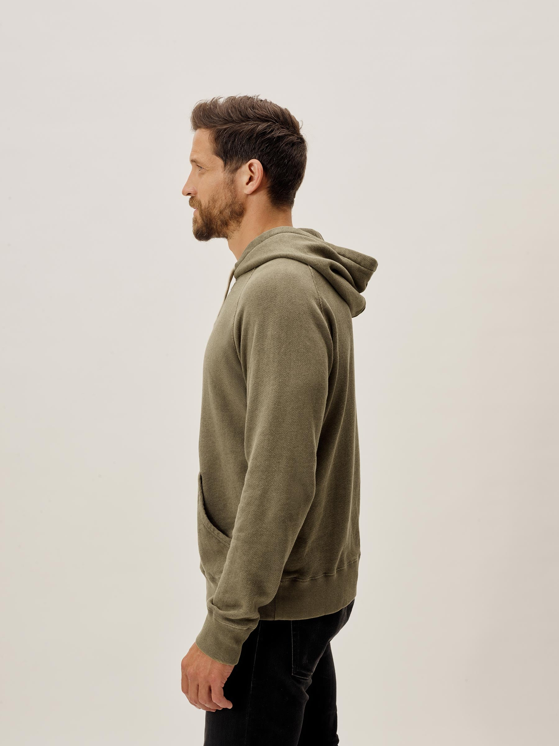 Buck Mason - Drab Sunfade Heathered Twill Terry Vintage Hooded Raglan