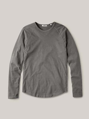 Faded Black Sueded Cotton Long Sleeve Raglan Tee