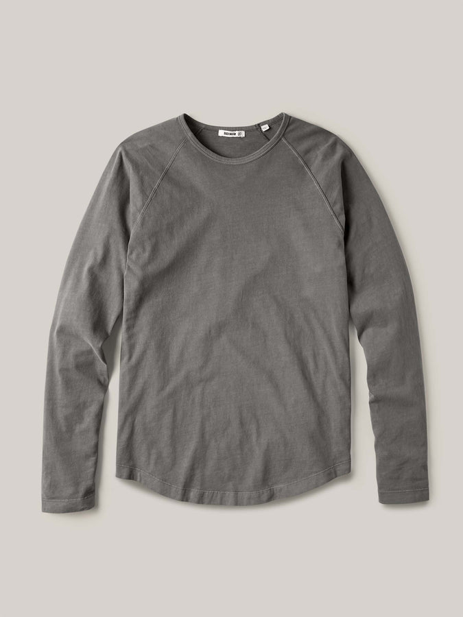 Faded Black Venice Wash Sueded Cotton Long Sleeve Raglan Tee