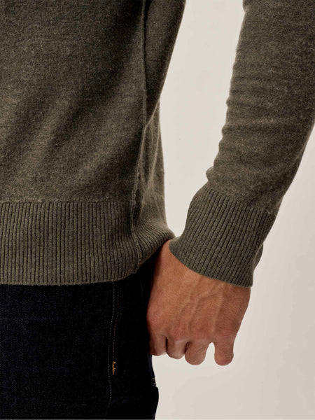 Faded Hunter Felted Fine Gauge Classic Crew Sweater