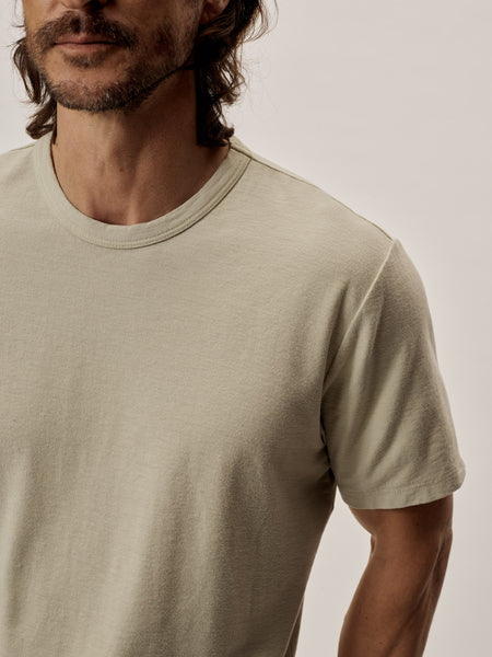 Oyster Venice Wash Tough-Knit Curved Hem Tee