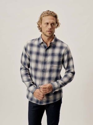 Heather/Navy Pacific Twill Vintage One Pocket Shirt