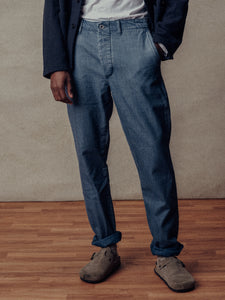 L012 Light Wash Indigo Canvas Officer Pant