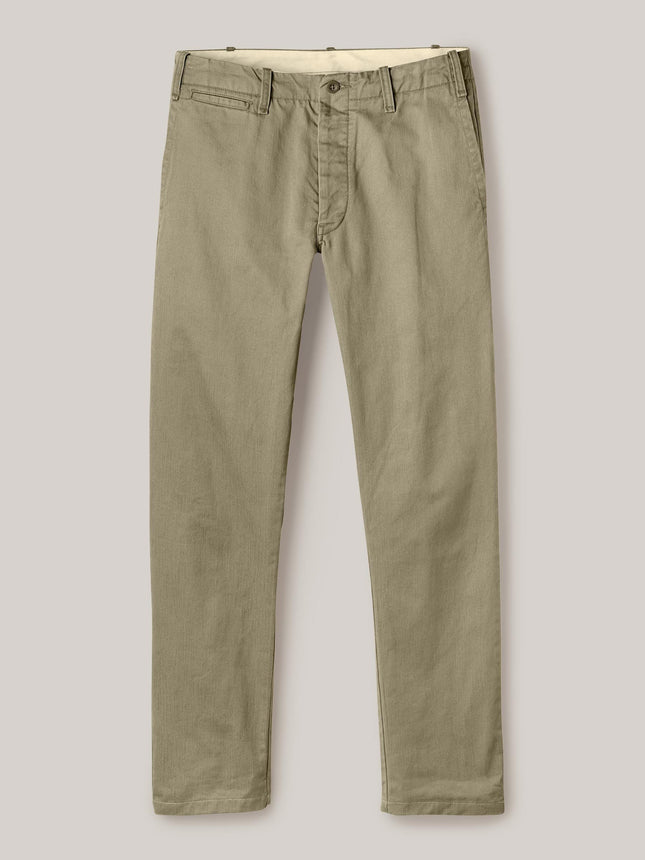 Khaki Slub Twill Officer Pant