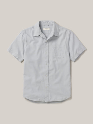 Mist  Draped Twill Short Sleeve One Pocket Shirt