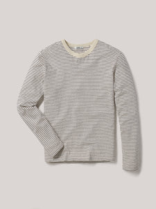 Natural/Coal Recycled Cotton Stripe Long Sleeve Classic Tee
