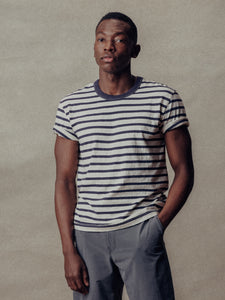 Natural/Navy Recycled Cotton Stripe Classic Tee